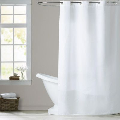 House Of Hampton Estella Shower Curtain Size Stall Color White Fabric Shower Curtains White Shower Curtain