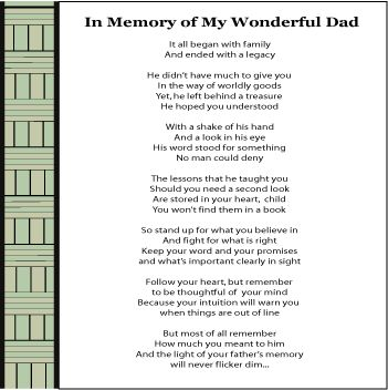 Sample tribute to a dead father