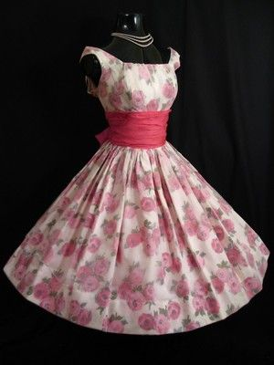 1950's Pink Floral Chiffon and Organza Party Dress