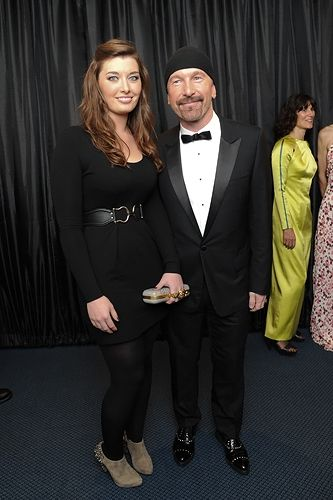 U2's the Edge with his daughter Hollie Evans at the 2011 GQ Men Of The Year Awards.