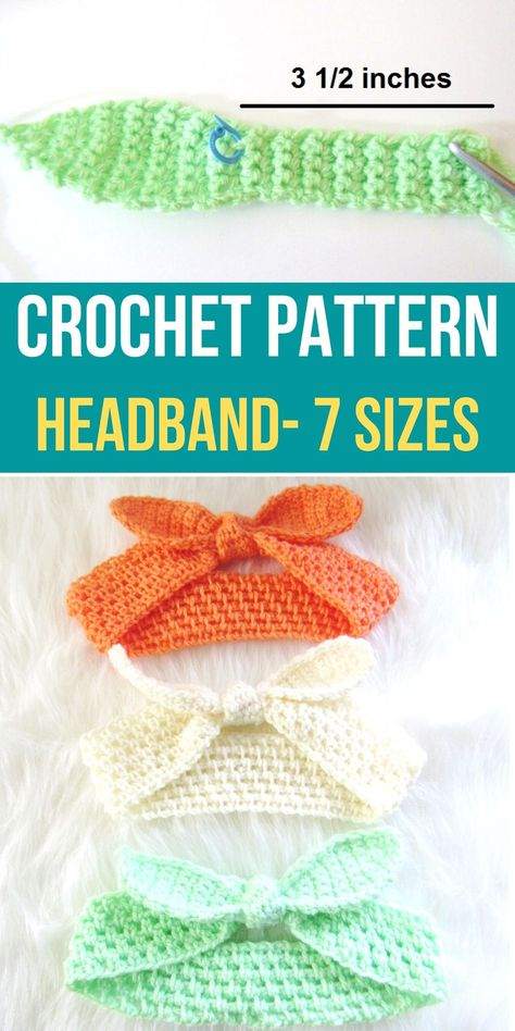 This free crochet headband pattern includes sizes for baby, kids, and women. This easy tutorial will help you make a perfect summer accessory. Make a mummy and me pair today. #crochetheadband, #crochetpattern, #crochetheadbandpattern, #freecrochetheadbandpattern, #crochetbabyheadband