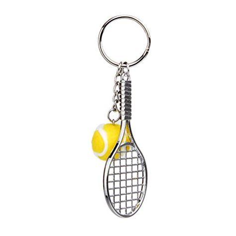1 Porte-cl/és avec raquette et balle de tennis en m/étal