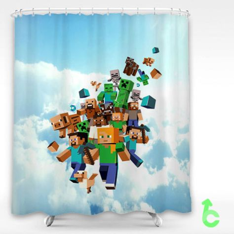 Minecraft Come Down From Sky Shower Curtain Curtains Cheap
