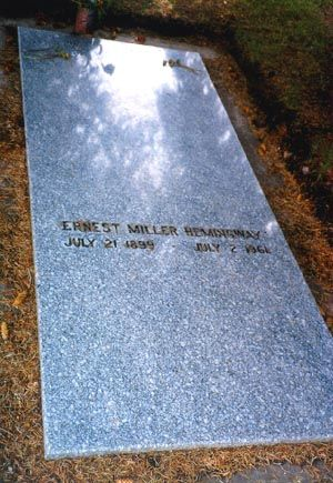 Ernest Hemingway died OTD in Seems fitting that his large grave marker is so straightforward in its text.