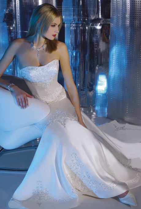 Brides: EXPIRED-Demetrios - Princess Collection. Satin strapless mermaid gown.� Features elaborate beaded embroidery and removable chapel train.