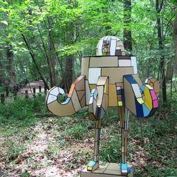 リサイクルの観点から ダンボールやその他の廃材を素材として 作品や工作を制作し発表しています 写真はドングリマシーン2号という作品です 夏に森の中で蚊に刺されながら撮影しました また 表参道ヒルズ キッズの森 にて 小学生以下を対象とした工作のワーク