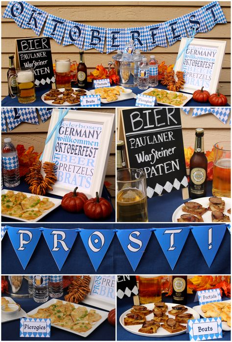 Oktoberfest Party Decor - printable Oktoberfest banners, water bottle labels, food tents, and subway art - plus party tips                                                                                                                                                     More