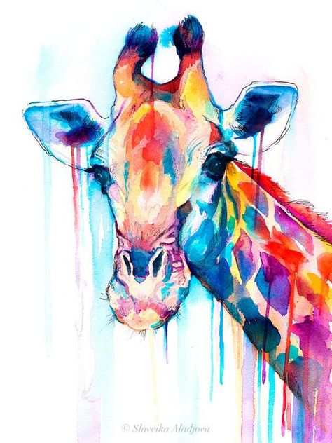 Giraffe Aquarell Druck Von Slaveika Aladjova Kunst Tier
