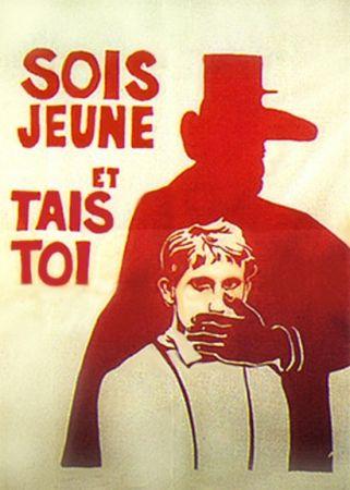 """Affiche mai 68, auteur inconnu – """"Sois jeune et tais-toi"""" (1968) #thevintees #inspiration #may69"""