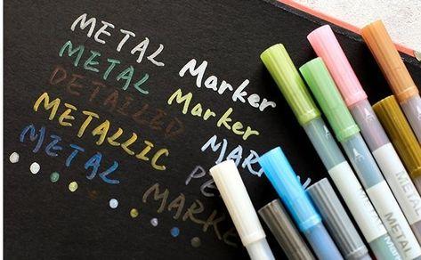 Rainbow Metallic Markers Set Of 10 Brush Markers Black