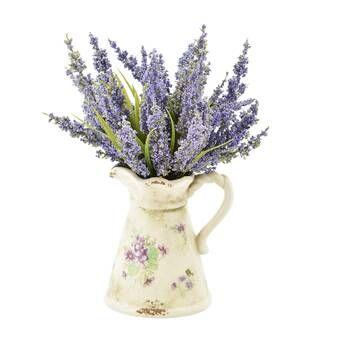 Heather Floral Arrangement In French Clay Pot Reviews Joss Main Faux Flowers Flower Arrangements Floral Arrangements