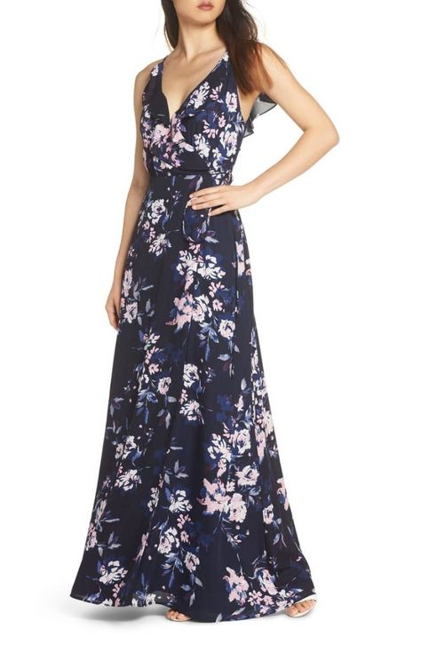 5ee99b203c9 Blue floral wrap gown perfect for your bridesmaids