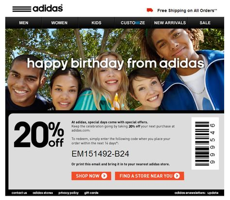 Adidas Birthday Email