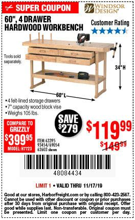 60 In 4 Drawer Hardwood Workbench In 2020 Workbench Modern Woodworking Projects Woodworking Tools For Sale