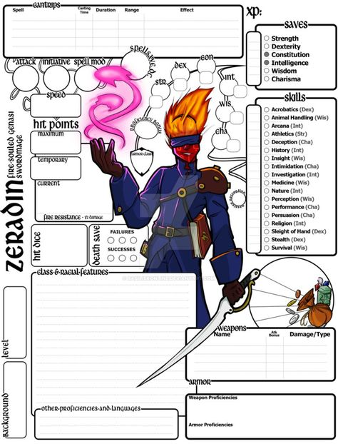 Custom Character Sheet Commission 5e Zeradin By Basiliskonline