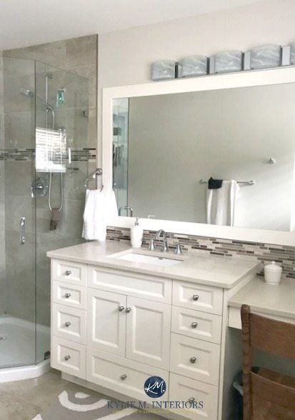 White Kitchen Cabinets 3 Palettes To Create A Balanced And Beautiful Space Kylie M Interiors Bathroom Colors White Vanity Bathroom White Kitchen Paint