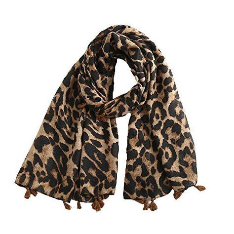5ac73984b1ad LEvifun Femme Écharpe Leopard Printed Chaude Foulards Châle de Laine Vogue  en Automne Hiver Cape Souple Confortable Pashminas Chèche Châle Étole  (Style2 ...