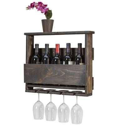 Truluck Mom S Wine 6 Bottle Wall Mounted Wine Bottle And Glass
