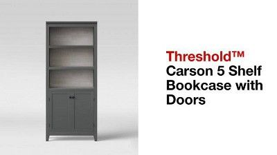 72 Carson 5 Shelf Bookcase With Doors Threshold 5 Shelf Bookcase Bookcase Shelves