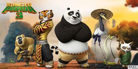 The full team of Kung Fu Panda 3 including master Shifu