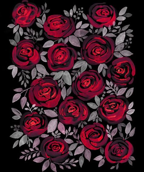 Watercolor Red Roses On Black Background Flowers Black Background Black Background Wallpaper Black Background Painting