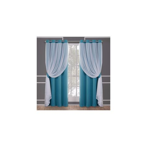 6eb946fd5a2b Caterina Layered Solid Blackout With Sheer Top Curtain Panels Turquoise  Blue 52X108 - Exclusive Home
