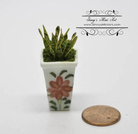 1:12 Handmade Dollhouse Miniature Vintage Porcelain Flower Pot Vase Home De Bd
