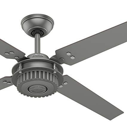 Hunter Fan 54 In Outdoor Ceiling Fan In Matte Silver With Wall Controller Certified Refurbished Review Hunter Fan Outdoor Ceiling Fans Ceiling Fan