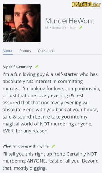 Not A Serial Killer Dating Profile