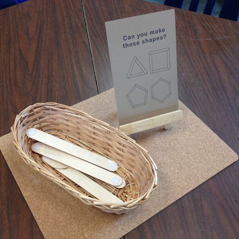 Can you make these shapes? Challenge young children to use craft sticks to make a range of 2D shapes