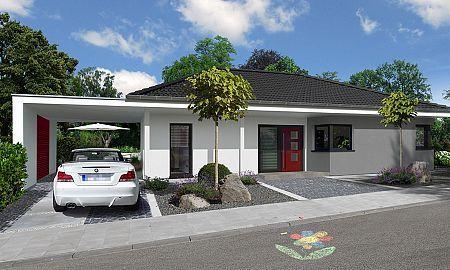 Bungalow Mit Carport Frontansicht Streif Haus Haus Bauen Fertighaus Bungalow