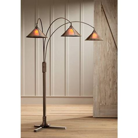 Mission Arc Mica Shade 3 Light Floor Lamp With Images Floor