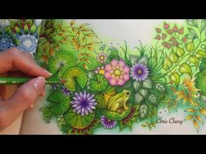 Colored Pencils Coloring The Magical Water Lily Pond Youtube Secret Garden Coloring Book Colored Pencil Coloring Book Secret Garden Colouring