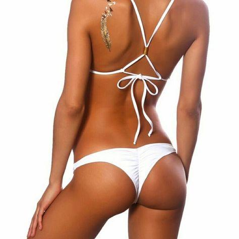 a51018ece28e9 NEW Cheeky Ruched Thong Bikini Bottom Separates Solid white thong bikini  bottom separates. Ruched back, plain front. Brand new with tags. visp Swim  Bikinis