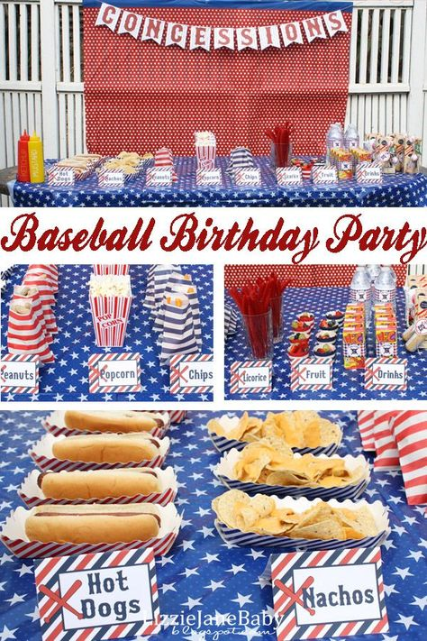 Baseball birthday party - this is such a fun theme for a sports party food Softball Party, Baseball Birthday Party, Sports Birthday, Boy Birthday Parties, Birthday Fun, Birthday Ideas, Sports Party, Baseball Party Themes, Kids Baseball Party
