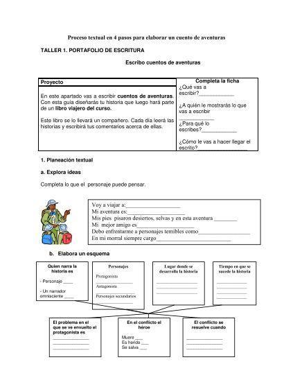 Proceso Textual En 4 Pasos Para Elaborar Un Cuento De Aventuras Journal Bullet Journal
