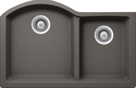 Granite One And Three Quarters Undermount Sink In Silverstone 20 Inch X 31 Inch X 9 Inch Double Bowl Kitchen Sink Sink Single Sink Kitchen