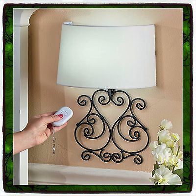 Wall Lamp Remote Controlled Scrolled Elegant Metal LED Sconce Battery Operated