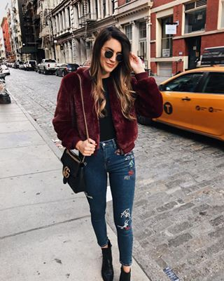 Luxurious and trendy, this Maroon Faux Fur Bomber Jacket is a must-have for every trendsetter. Wear this maroon fur jacket with a cute party dress.