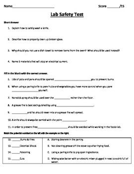Lab safety test for a foods class | For foods classroom | Lab safety