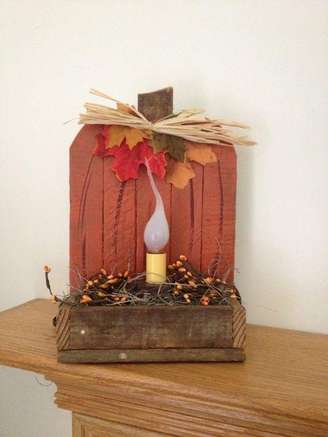 Primitive Decorative Pumpkin Light  Rustic by ourcraftycreations, $14.99