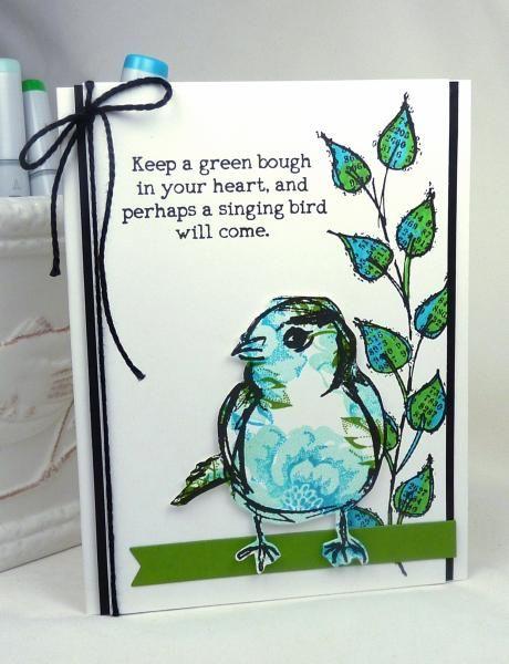 tim holtz, ranger, dina wakley, watercolor, scribbly birds - sample trading card