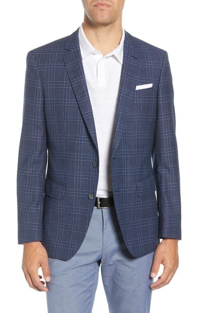 Ital Uomo Classic Fit Gray Plaid Two Button Wool Blazer Sportcoat