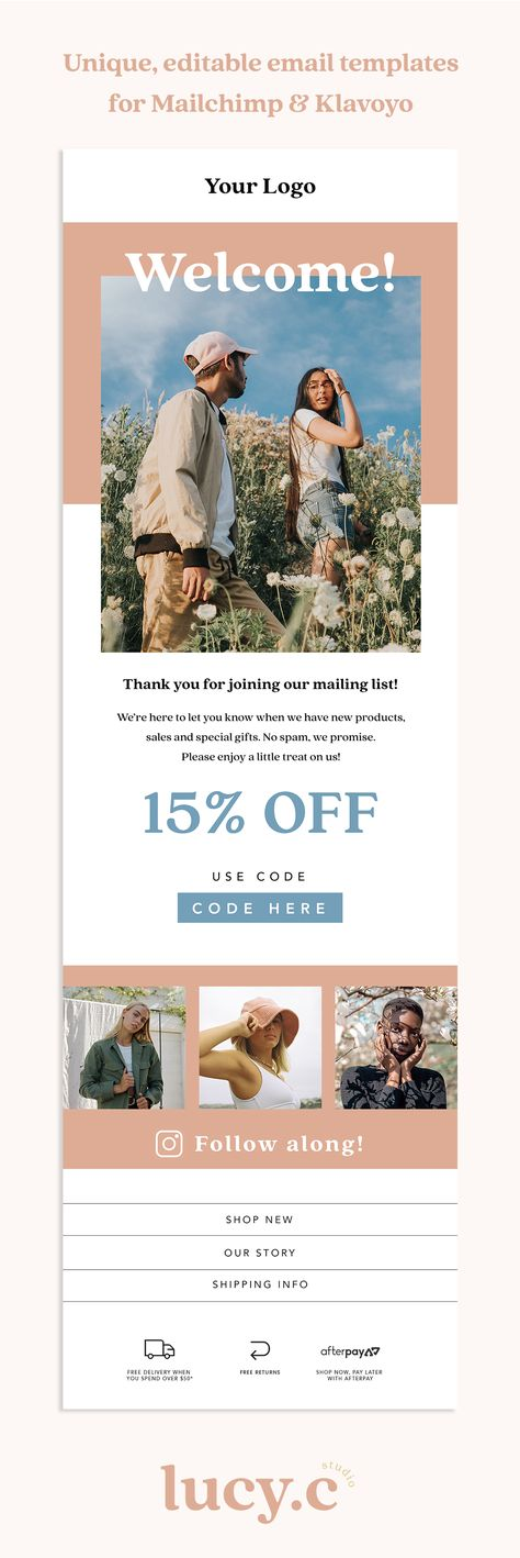 Editable Welcome Email Newsletter Template