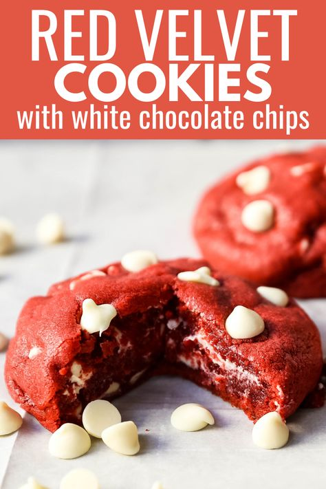 Red Velvet Cookies. Soft chewy famous Red Velvet Cookies with sweet white chocolate chips.www.modernhoney.com #redvelvet #redvelvetcookies #cookies #4thofJuly