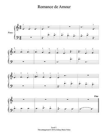 Romance Level 1 Piano Sheet Music Sheet Music Piano Sheet