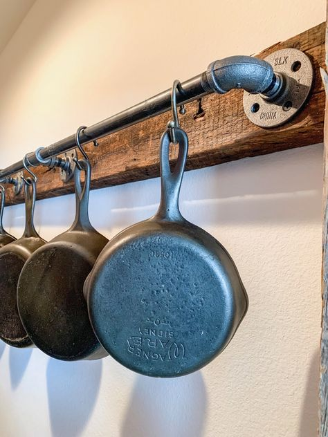 Check out my easy solution for storing and organizing heavy/bulky cast iron cookware! Care Skin Condition and Treatment Oil Makeup Kitchen Redo, Rustic Kitchen, Kitchen Storage, Kitchen Remodel, Kitchen Tools, Kitchen Gadgets, Kitchen Ideas, Cast Iron Pot, Cast Iron Cooking