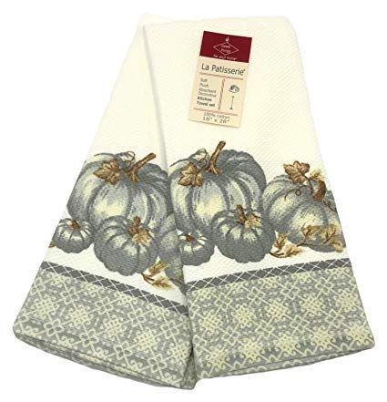 La Patisserie Neutral Gray Fall Harvest Pumpkins Leaves Kitchen Towel Set Kitchen Towels Kitchen Towel Set Pumpkin Leaves