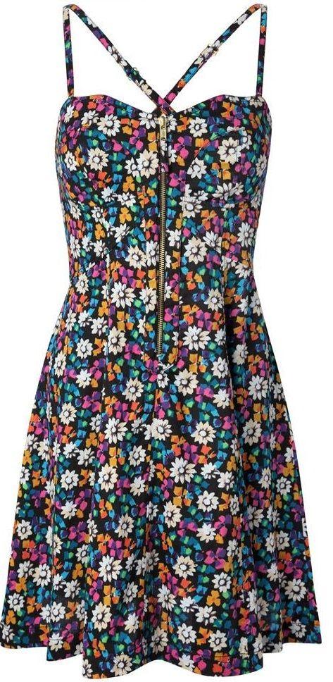 Fermuarli Capraz Askili Cicek Desenli Yazlik Bayan Gunluk Elbise Modeli Elbise Modelleri Cicekli Elbiseler Elbise