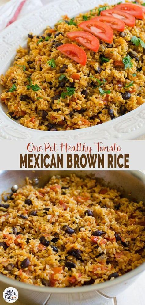 Mexican-Style Tomato Brown Rice This one pot Mexican brown rice with tomatoes is an easy, healthy and vegetarian option for any weeknight meals. Vegetarian Options, Vegetarian Recipes, Cooking Recipes, Vegetarian One Pot Meals, Healthy One Pot Meals, Healthy Rice Recipes, Mexican Food Recipes, Healthy Brown Rice Recipes, Healthy Mexican Rice
